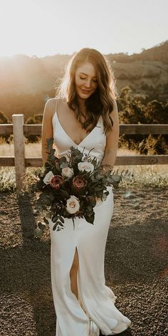 27 Bridal Inspiration: Country Style Wedding Dresses ❤  country style wedding dresses sheath simple with spaghetti straps beach one day #weddingforward #wedding #bride Protea Bouquet, Rose Bridal Bouquet, Wedding Bouquets, Country Style Wedding Dresses, Bride Makeup, Blush Roses, Bridal Looks, Floral Wedding, Wedding Flowers