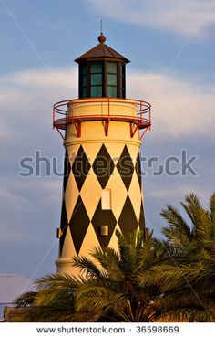 Old Lighthouse Over Blue Sky And Palm Trees. Destin, Florida, Usa Stock Photo 36598669 : Shutterstock