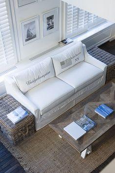 beach life living room; cute idea to monogram back cushions