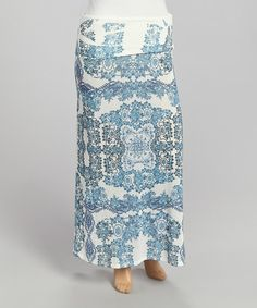Another great find on #zulily! Blue Flourish Maxi Skirt - Plus by Poliana Plus #zulilyfinds