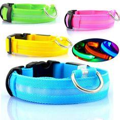 Nylon LED Halsband Licht Nacht Veiligheid LED Knippert Glow Pet levert Huisdier Kat Halsbanden Hond Accessoires Voor Kleine Honden Kraag LED