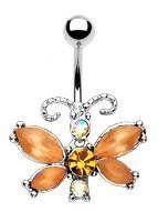 Amazon.com: Amber Crystal Butterfly Navel Jewelry: Jewelry