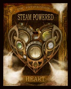 Steampunk Vintage Ad Series - Dr. Professors Steam Powered Heart  - Art Print by Brian Giberson