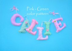 Personalized Fabric name banner PINK  GREEN by LittleFairyCottage, $7.00