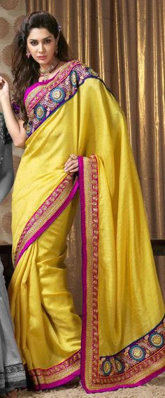 $105.53 Yellow Embroidery Art Silk Party Wear Saree 22471