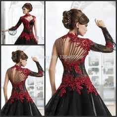 2017 Victorian Gothic Masquerade Wedding Dress Black And Red Dress Formal Event Gown Plus Size Robe De Soire Vestido De Festa Longo Ball Gown Ball Gow Masquerade Wedding Dresses, Arabic Wedding Dresses, Masquerade Ball Gowns, Prom Dresses Long With Sleeves, Black Wedding Dresses, Wedding Dresses Plus Size, Ball Dresses, Party Dresses, Evening Dresses