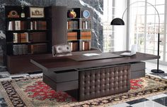Executive Desk Leather Wood