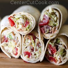 These BLT Wraps feature crisp bacon, juicy grape tomatoes, shredded lettuce, and a special sauce (NOT mayo) that make these standout! Bacon Appetizers, Great Appetizers, Wrap Recipes, Dinner Recipes, Dinner Ideas, Breakfast Recipes, Dessert Recipes, Desserts, Tacos