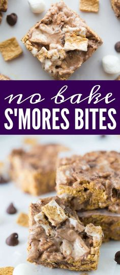 No Bake S'mores Bites Recipe! This Easy Treat Recipe is the perfect snack or dessert recipe for summer parties! A Holiday twist on an american favorite!