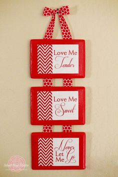 """Love Me Tender"" hanging wall decor with link to tutorial and free prinatbles in several colors to make this craft."