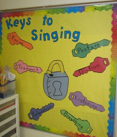 of Music Bulletin Boards!Lots of Music Bulletin Boards! Preschool Music, Music Activities, Teaching Music, Kindergarten Crafts, Student Teaching, Teaching Tips, Middle School Choir, Music School, Singing Lessons