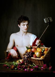 Actor/model Rory Finn is photographed by Scallywag Fox in a modern day re-interpretation of Caravaggio's masterful work| Homotography