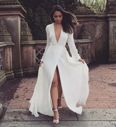 Long V neck full sleeve white prom dress , Shop plus-sized prom dresses for curvy figures and plus-size party dresses. Ball gowns for prom in plus sizes and short plus-sized prom dresses for Elegant Dresses, Sexy Dresses, Beautiful Dresses, Fashion Dresses, Dresses For Work, Formal Dresses, Wedding Dresses, Lace Wedding, Dresses Dresses