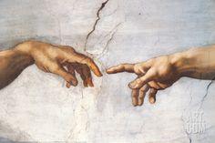 Creation of Adam Detail Hands Art Print by Michelangelo Buonarroti at Art.com