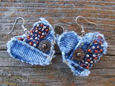 Earring Heart-Shaped Recycled Denim Hand-Beaded Classic