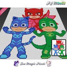PJ Masks crochet graph (C2C, Mini C2C, SC, HDC, DC, TSS), cross stitch; knitting; PDF download, no counts/instructions PJ Masks crochet blanket pattern; c2c, cross stitch; graph; pdf download; no written counts or row-by-row instructions by TwoMagicPixels, $4.99 USD<br> Crochet Afghans, C2c Crochet, Manta Crochet, Crochet Bebe, Afghan Crochet Patterns, Crochet Stitches, Stitch Patterns, Crochet Blankets, Easy Crochet Projects