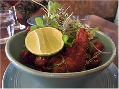 """The """"new"""" Korean Fried Chicken being served at Cin Cin, Los Gatos, 2019 version. Steamed Pork Buns, Happy Hour Food, Charcuterie Plate, Bacon Wrapped Dates, Korean Fried Chicken, French Restaurants, Deviled Eggs, Empanadas, Stuffed Mushrooms"""