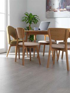 UK - Our Grey Oak flooring looks fantastic in this crisp white dining room design! Dining Room Design, Dining Area, Dining Chairs, Oak Laminate Flooring, Grey Oak, Wishbone Chair, Wood Floor, Floors, Vw