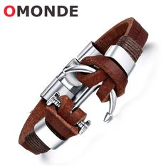 New Arrival Fashion Design Leather Bangles Alloy Boat Anchor Bracelet Sailor Sea Men Viking Jewelry for Male