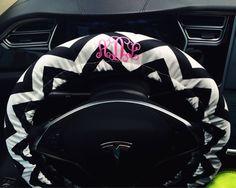 Personalized Chevron Car Steering wheel cover-Monogram initials black and white chevron auto steering wheel cover