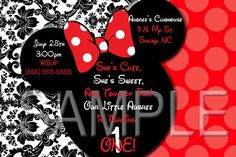 Custom Red Damask Minnie Mouse Invitation OR Thank by SkyeCreation, $8.00