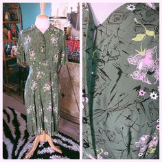 Vintage 1940s Dress Green Art Floral Novelty Print Rayon Swing