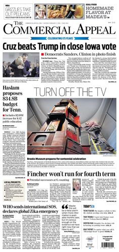 #20160202 #USA #TENNESSEE #MEMPHIS #TheCommercialAppeal Tuesday FEB 2 2016 http://www.newseum.org/todaysfrontpages/?tfp_show=80&tfp_page=7&tfp_id=TN_CA