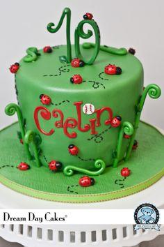 Grassy ladybird cake