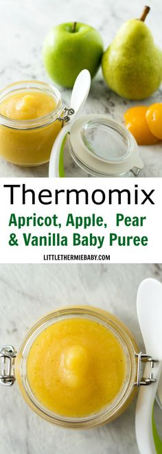 Thermomix Apricot, Apple, Pear & Vanilla Baby Puree - This is a sweet, luscious fruit puree for your bub. When I first offered this to my LTB he was beside himself with joy! You can use fresh, canned or dried apricots. They're all delish!