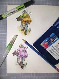 """Coloreando con AquaMarker y Blender (arriba); Lápices Acuarelables Staedtler y pincel AquaFlo (abajo). Sello Mo Manning """"Mummu's Bike""""."""