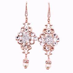 Gold Bridal Earrings, Wedding Earrings, Drop Earrings, Silver Roses, Rose Gold, Decorative Hair Combs, Vintage Wedding Jewelry, Pearl Cream, Swarovski Pearls