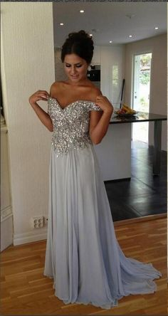 Off Shoulder Beaded Prom Dresses,Silver Grey Prom Dress,A-line Evening Dresses,Prom Dress 2016 for Teens