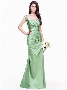 Trumpet/Mermaid Sweetheart Floor-Length Satin Bridesmaid Dress With Ruffle