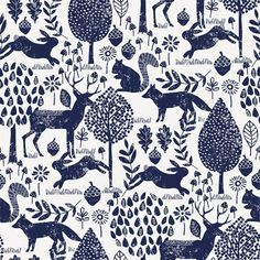 Animal Drawings, Art Drawings, Wall Drawing, Woodland Fabric, Woodland Art, Pattern Illustration, Woodland Illustration, Scandinavian Folk Art, Carousel Designs