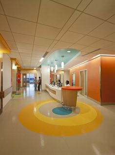 The vibrant colors used on each floor were chosen to appeal to children, teens, and the staff. Mondor rubber flooring Cut for Nemours Children's Hospital by Waterjet Works.   Architecture/ Interior design: Beaman and Sears/Perkins+Will   Project Management: Spectra Contract flooring  Photography: Jonathan Hillyer/HillyerPhoto.com