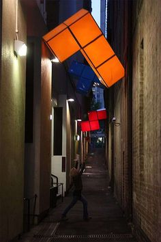 Fun and Unusual Urban Art Installations Around the World, illuminated tetris game pieces