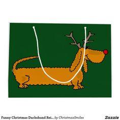 Funny Christmas Dachshund Reindeer Large Gift Bag