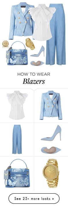 """""""outfit 6214"""" by natalyag on Polyvore featuring Balmain, Armani Jeans, Valentino, Le Silla, Michael Kors and Foundrae"""