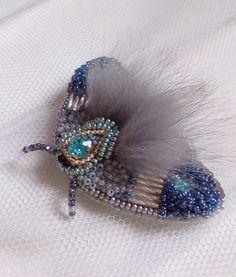 Beautiful  brooch Night moth Butterfly brooch  by biserokOlena