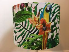 Handmade tropical leaf parrot lampshade in jungle macaw