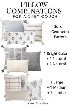 The Right Throw Pillows For Your gray sofa. Simple formulas that help you get it right, as well as pillow combinations you can shop! Living Room Pillows, Home Living Room, Living Room Designs, Pillow Room, U Couch, Cushions For Grey Sofa, Decorative Couch Pillows, Throw Pillows Couch, Living Room Decor Grey Couch