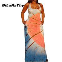 BiLaRyThy New Summer Style Woman Long Dress Sleeveless Round Neck Floor Length Printing Maxi Dresses Bohemian Vestidos S--3XL