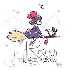 Kiki & Jiji fanart - The Art of David Gilson Studio Ghibli Films, Art Studio Ghibli, Studio Ghibli Tattoo, Studio Ghibli Characters, Kawaii Drawings, Disney Drawings, Cute Drawings, Studio Ghibli Background, Pinturas Disney