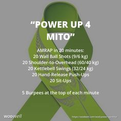 """""""POWER UP 4 MITO"""" Memorial / Tribute WOD: AMRAP in 20 minutes: 20 Wall Balls; 20 Shoulder to Overhead; 20 KB Swings; 20 Hand Release Push-Ups; 20 Sit-Ups. Start with 5 Burpees and do 5 more at the top of each minute."""