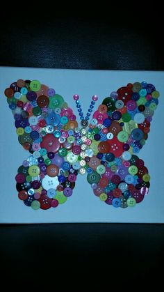 Colorful Button Art Butterfly