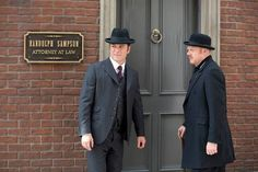 "Murdoch (Yanick Bisson) and Brackenreid arrive at Randolph Sampson's office. ""The Murdoch Appreciation Society"" Chris Halliwell, Murdock Mysteries, Mystery Photos, Detective Shows, Photo Credit, Fangirl, Tv Shows, Savage, Jasper"