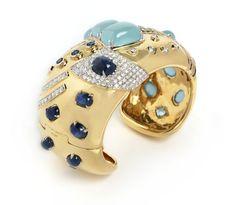 Seaman Schepps aquamarine, sapphire and diamond cuff, set in gold