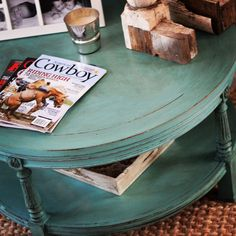 Refinished thrift store ~ coffee / sofa turquoise  table chalk paint & wax Facebook.com/myfrenchielife