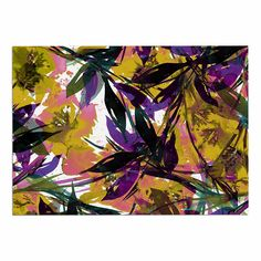 KESS InHouse Ebi Emporium 'Floral Fiesta-Yellow Purple' Gold Lavender Dog Place Mat, 13' x 18' ** Quickly view this special dog product, click the image : Dog food container