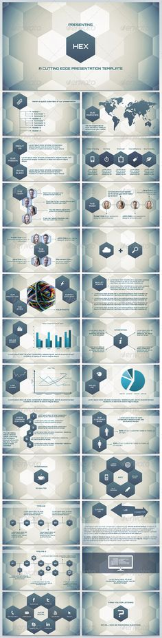 """Hex - Cutting Edge Presentation #GraphicRiver Hex is a cutting edge modern presentation template with a clean, techy look. It's also very easy to create your own slides with the same look, just duplicate the slides and drag the hexagons. Hex uses the free font """"Orbitron"""". Download link is in the documentation file."""